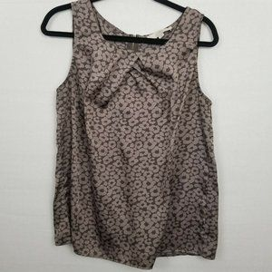 ANN TAYLOR LOFT Taupe Floral Sleeveless Top